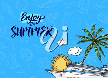 Vector banner and poster hand drawn summer travel elements background with place for text illustration