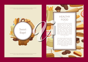 Vector cartoon bakery card or flyer template illustration. Banner and poster