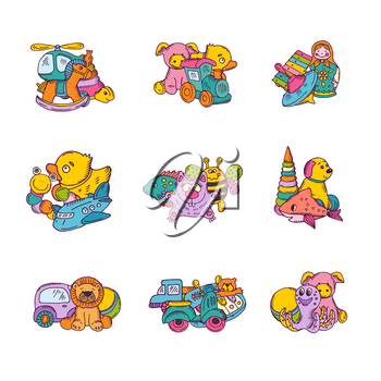 Vector set of kid toys piles hand drawn and colored illustration