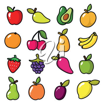 Collection of fruits in cartoon style. Fruit food cartoon, apple and lemon, banana and sweet pear. Vector illustration