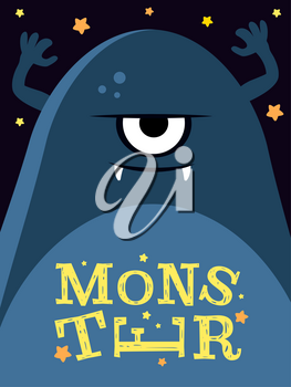 Vector illustration with angry monster. Funny cute character banner poster