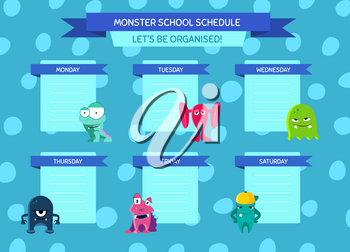 Vector school schedule with ribbons, cartoon monsters on circles background. Template chart school illustration