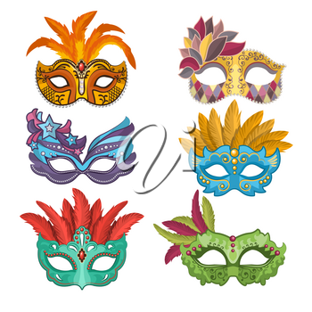 Woman masks with feathers for masquerade. Collection of masquerade mask, carnival venetian. Vector illustration