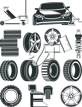 Monochrome illustrations of tires service symbols, wheels and cars. Auto service repair tire, station vulcanization vector