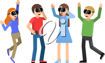 Funny people playing in video games in helmet of virtual reality. Device for virtual video game, play in cyberspace. Vector illustration