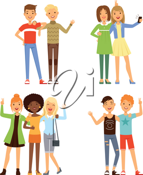 Illustrations of friendship. Different male and female friends. Friendly groups people together, young different friends character vector