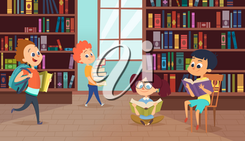 Background with school characters. Vector pictures of pupils. Illustration of library with bookshelf, bookstore university