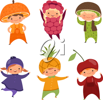Children in fruit costumes. Vector pictures of various funny clothes for kids. Costume child fruit, raspberry and pineapple, cherry and currant illustration