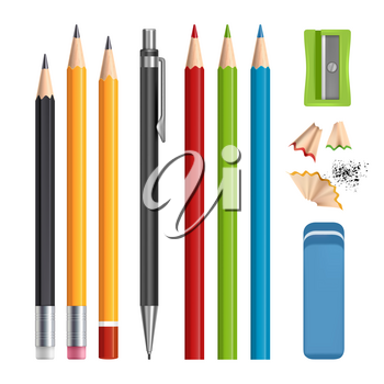 Pencils set. Stationery tools sharpen, colored wood pencils with rubber vector realistic illustrations isolated. Pencil stationery, eraser rubber and sharpener