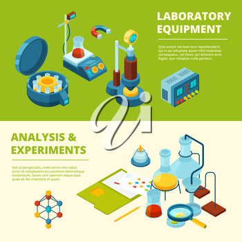Scientific banners. Medical or chemical experiment laboratory room and equipment vector isometric pictures. Illustration of research laboratory, structure molecule and burner bunsen isometry