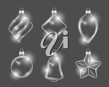 Xmas glass toys. New year balls stars and gifts boules vector 3d realistic pictures. Illustration of christmas glass toys, star and ball form