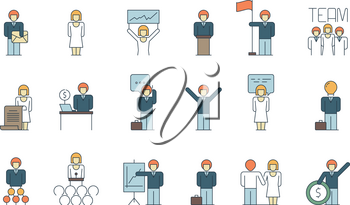 Simple business team icon. Social communication meeting group or person work discussion presentation thin line colored symbols. Teamwork people, business leadership learning and speak illustration