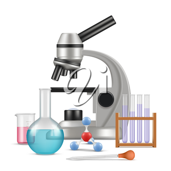 Science laboratory 3d. Biology physics items for tests and experiments in lab microscope glass tubes vector realistic composition. Experiment lab, research and education, test chemistry illustration