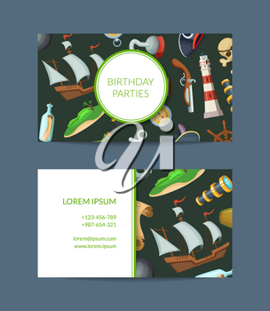 Vector cartoon sea pirates business card template for birthday parties event manager illustration