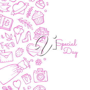 Vector doodle wedding elements background with place for text illustration