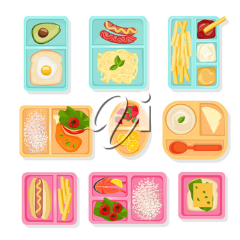 School food top view. Lunch boxes for children sort cases for products drinks snacks pizza fruits and vegetables vector pictures. Box lunch, snack and food in container illustration
