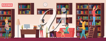 School library. People with books students sitting and reading in biblioteca interior with bookshelves vector background. Illustration bookstore university, library with bookshelf