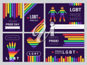 Supportive lgbt set. Colored rainbow banners for lgbt peoples events vector illustrations. Lgbt tolerance, rainbow community banner, pride day