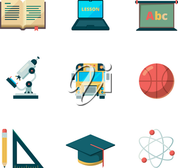 Back to school flat icon. Education learning graduation vector symbols college application pictures. College education, school study science illustration
