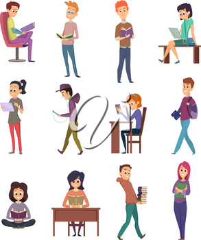 Reading characters. People knowledge student with books learn in library study school vector illustrations. Student character with books, people reading literature