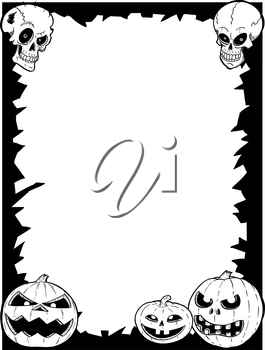 Hand drawing cartoon Halloween frame with skull and pumpkin illustrations.