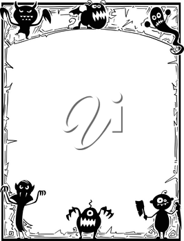 Hand drawing cartoon Halloween frame with cute monster silhouettes.