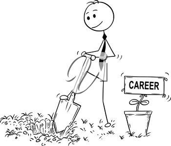 Cartoon stick man drawing conceptual illustration of businessman digging hole to plant a tree with career sign as flower. Business concept of investment, growth and success.