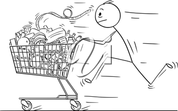 Cartoon stick man drawing conceptual illustration of businessman running and pushing shopping cart full of goods. Concept of stress and time pressure.