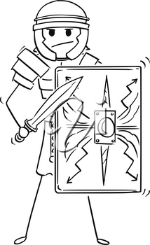 Cartoon stick man drawing conceptual illustration of ancient roman legionary or legionnaire warrior soldier.