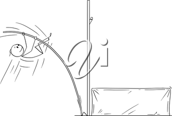 Cartoon stick drawing conceptual illustration of athlete doing pole vaulting.
