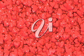 Valentine's Day abstract 3D illustration or background pattern with shiny red hearts.