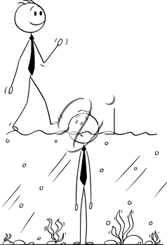 Cartoon stick man drawing conceptual illustration of businessman standing in water with surface above his chin. More successful man is walking on the surface. Business concept of success and failure.