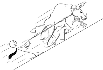 Cartoon stick drawing conceptual illustration of bull as rising market prices symbol pulling happy businessman on rope.
