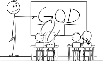 Vector cartoon stick figure drawing conceptual illustration of teacher in classroom with marker in hand pointing at god word written on whiteboard.