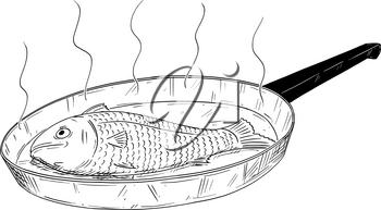Cartoon drawing illustration of fish food cooked on frying pan.