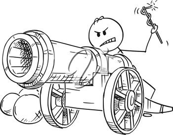 Cartoon stick figure drawing conceptual illustration of angry man or businessman targeting with antique cannon ready to fire.