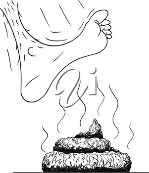 Vector cartoon drawing and conceptual illustration of big bare foot stepping or stamping on the excrement or poop or stool or shit.