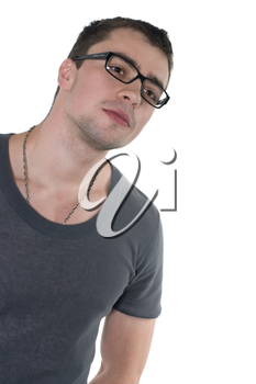 Beautiful man wearing glasses it is isolated on a white background