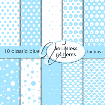 Set of classic blue seamless patterns with dots for boys