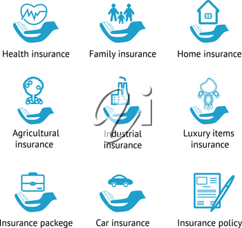 Vector insurance pictograms set- home, auto, health, life insurance, insurance luxury items, agricultural and business risk insurance, insurance package, insurance policy