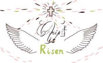 Easter christian motive with lettering and sketch. Christ is risen, vector illustration
