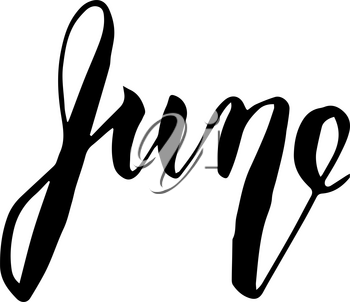 June lettering print. Summer minimalistic illustration. Isolated calligraphy on white background. Can be used for poster, calendar, cards etc.