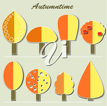 Collection Of Autumn Trees. Simple collection of autumn trees of different shapes.  Vector illustration EPS10.