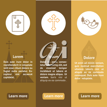 Jesus Christ religion banners set. Christianity vertical banners with text. Can be used for website, typography purpose etc.