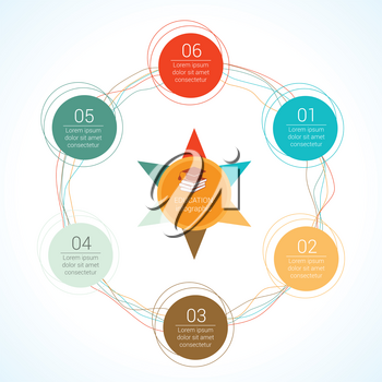 Template circular vector education infographic for presentation. Flat line chart with 6 options, parts, processes.