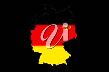 Map of Germany with national flag isolated on Black background With Crest
