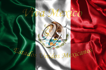 Mexican National Flag With Eagle Coat Of Arms and Text. Viva Mexico, Estados Unidos Mexicanos,  Meaning, Live Mexico, United Mexican States, 3D Rendering