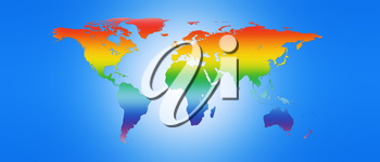 World Map in Peace Colors 3D illustration