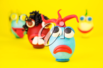 Easter Eggs Cartoonish Characters With Plasticine Eyes, Mouth and Hair Having an Expressive Faces