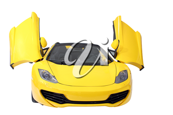 yellow supercar isolated on white front view